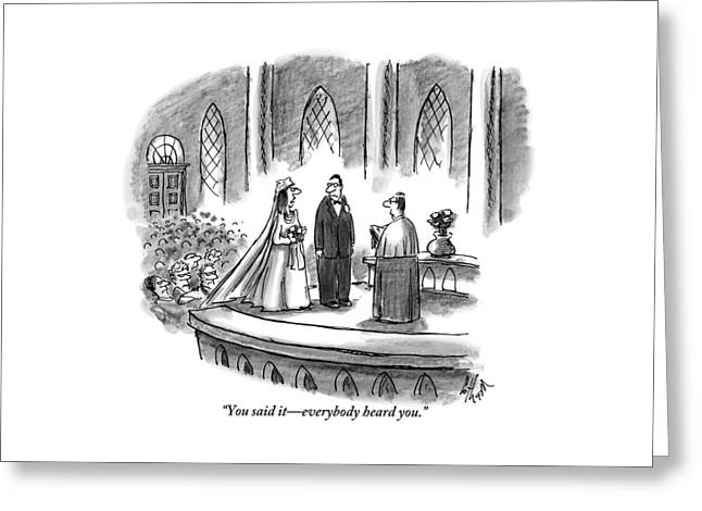 An Annoyed Wife Talks To Her Husband At The Altar Greeting Card