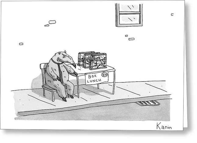 An Anteater Sells Box Lunch -- Ant Farms Greeting Card