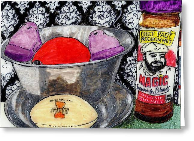 An Apple Purple Peeps And Paul Prudhomme Greeting Card