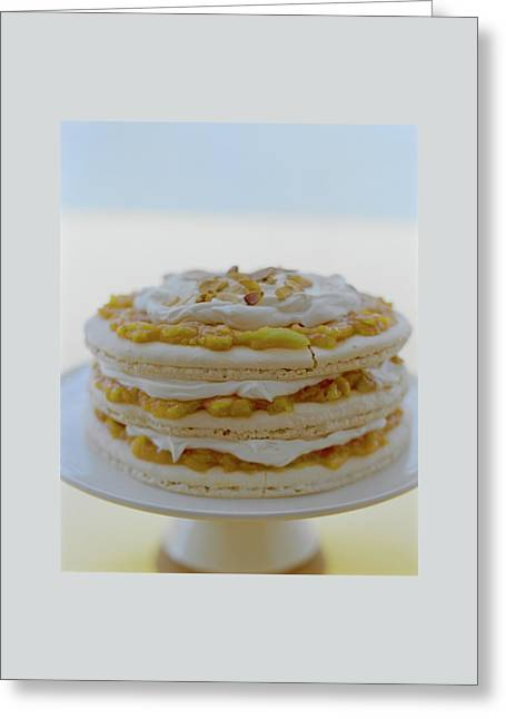 An Apricot Almond Layer Cake Greeting Card by Romulo Yanes