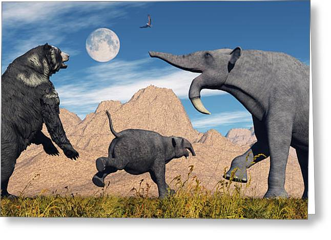 An Arctodus Bear Chasing A Young Greeting Card by Mark Stevenson