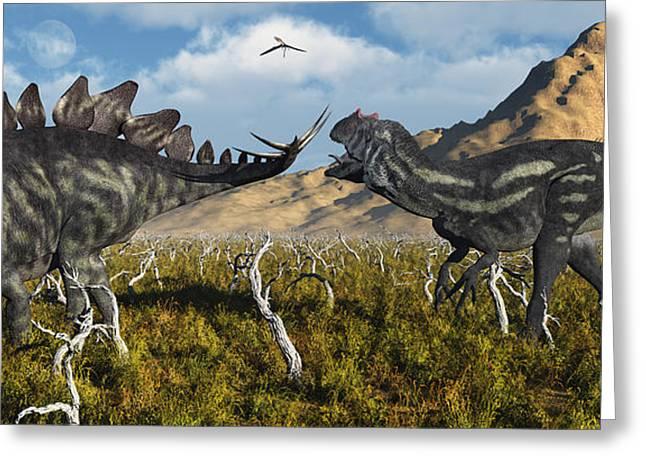 An Armor Plated Stegosaurus Defending Greeting Card