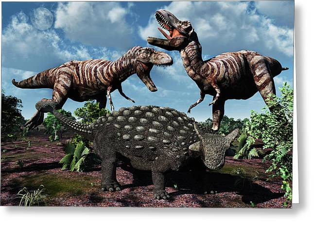 An Armored Ankylosaurus Protecting Greeting Card