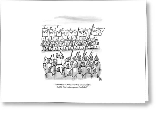 An Army Lines Up For Battle Greeting Card by Paul Noth