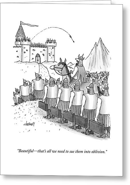 An Army Of Vikings Hold Briefcases Greeting Card