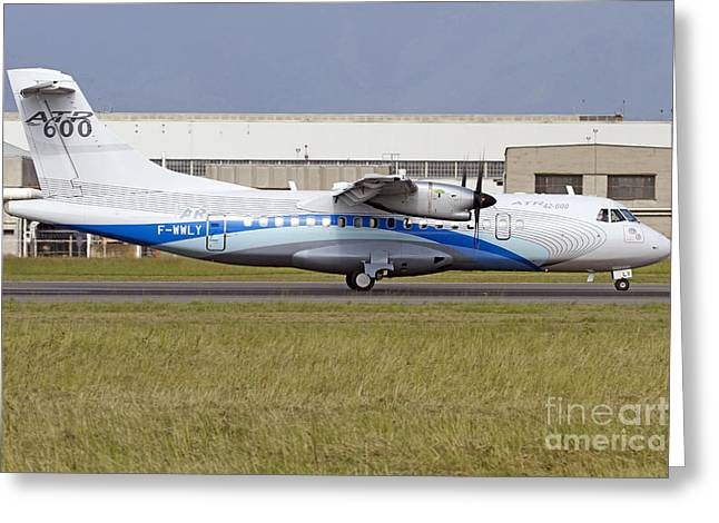 An Atr 42-600 Airliner At Turin Greeting Card by Luca Nicolotti