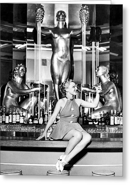 Sexy Woman On The Bar Greeting Card by Underwood Archives