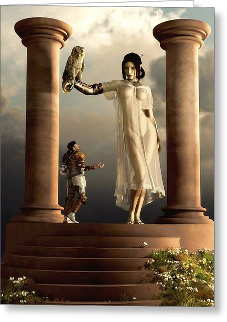 Greeting Card featuring the digital art An Audience With Athena by Kaylee Mason