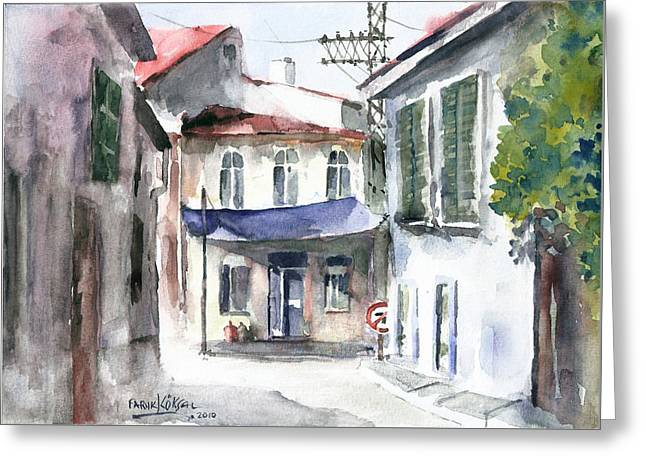 An Authentic Street In Urla - Izmir Greeting Card