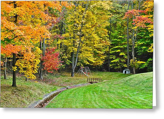 An Autumn Childhood Greeting Card by Frozen in Time Fine Art Photography
