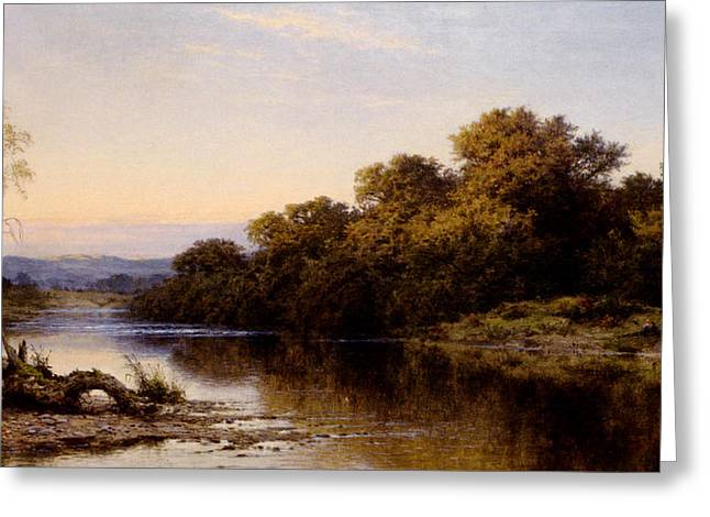 An Autumn Evening North Wales Greeting Card by Benjamin Williams Leader