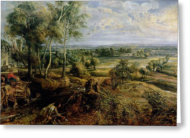 An Autumn Landscape With A View Of Het Steen In The Early Morning, C.1636 Oil On Panel Greeting Card