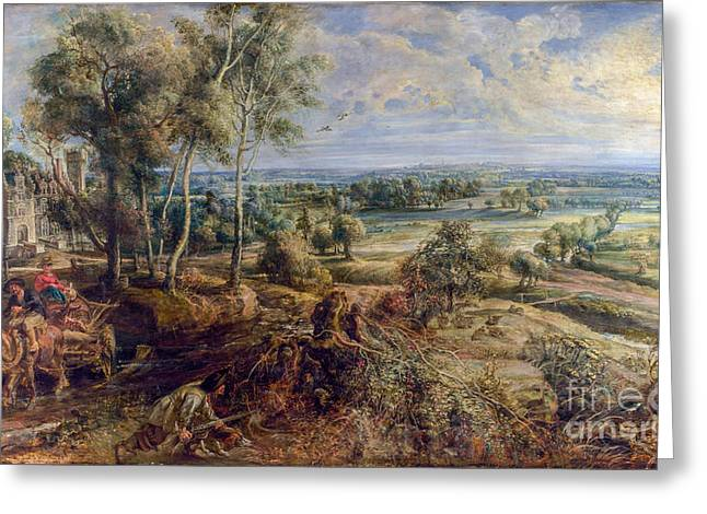 An Autumn Landscape With A View Of Het Steen Greeting Card
