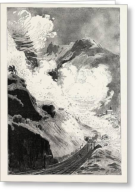 An Avalanche At Wassen, Valley Of Reuss, Canton Uri Greeting Card by Swiss School
