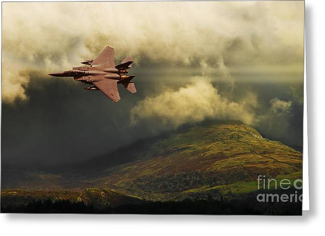 Greeting Card featuring the photograph An Eagle Over Cumbria by Meirion Matthias