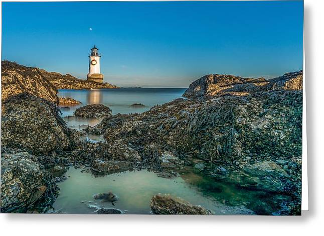 An Early Moon Over Fort Pickering Light Salem Ma Greeting Card