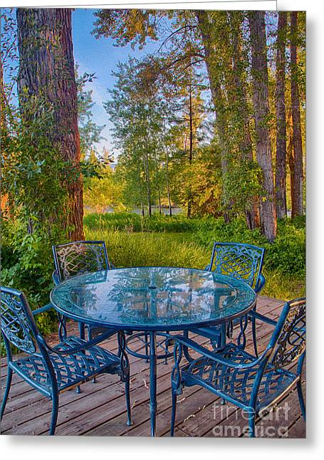 An Early Morning On The Deck At Cottonwood Cottage Greeting Card
