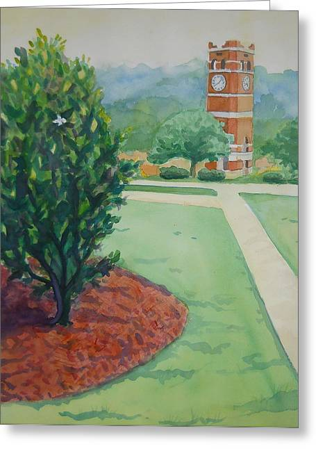 An Early Walk To The Belltower Greeting Card