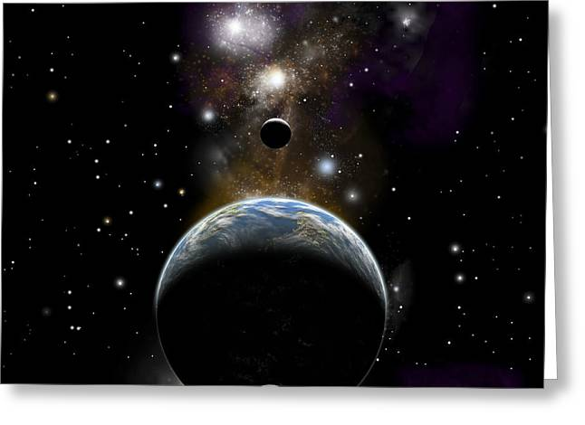 An Earth Type World With Two Moons Greeting Card by Marc Ward