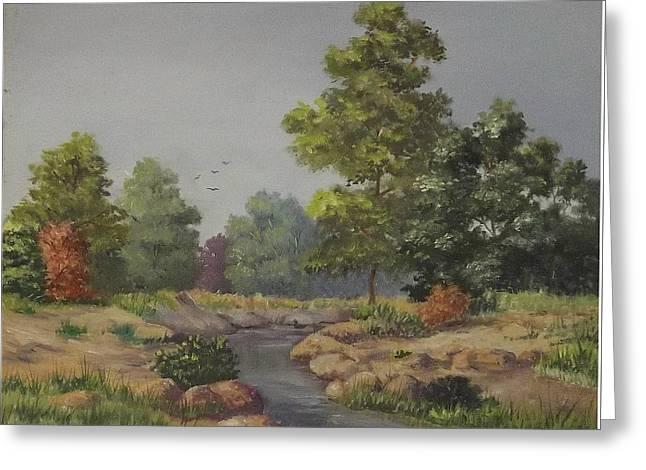 An East Texas Creek Greeting Card by Wanda Dansereau