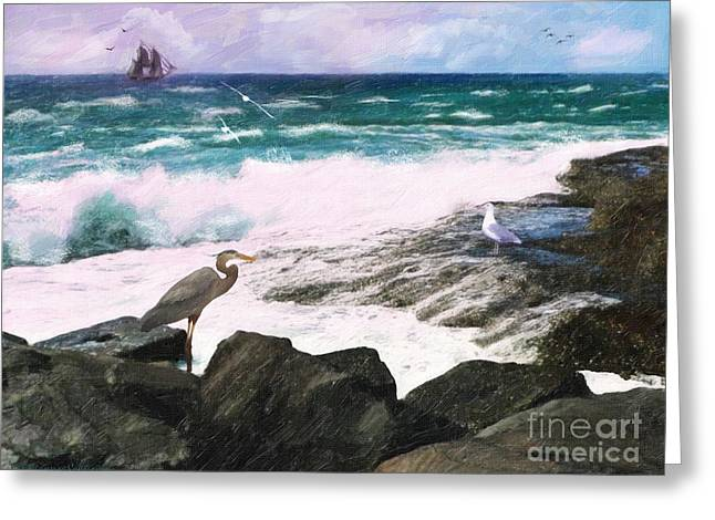 Greeting Card featuring the digital art An Egret's View Seascape by Lianne Schneider