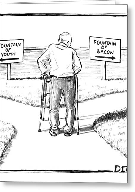An Elderly Man Is Seen Standing Next To Two Arrow Greeting Card