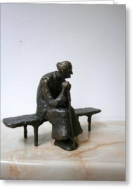 An Elderly Woman On A Bench Greeting Card by Nikola Litchkov