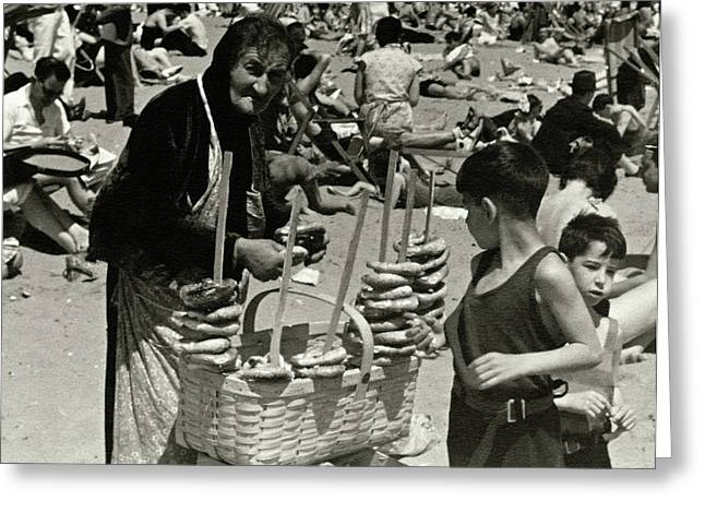 An Elderly Woman Selling Food On The Beach Greeting Card by Lusha Nelson