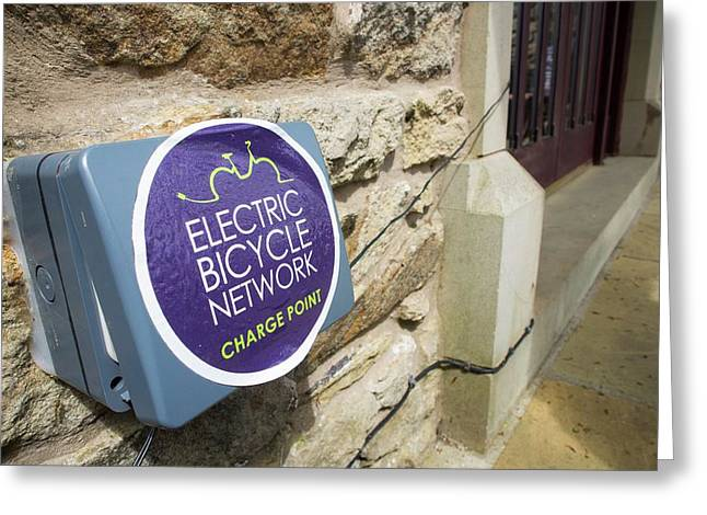 An Electric Bike Recharging Point Greeting Card