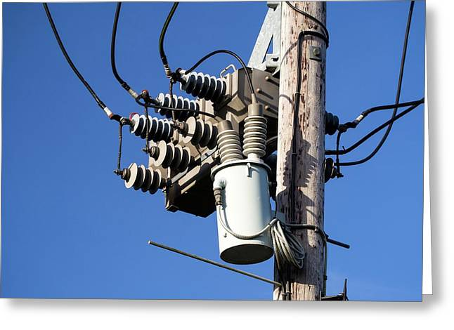 An Electricity Pole Greeting Card by Ashley Cooper