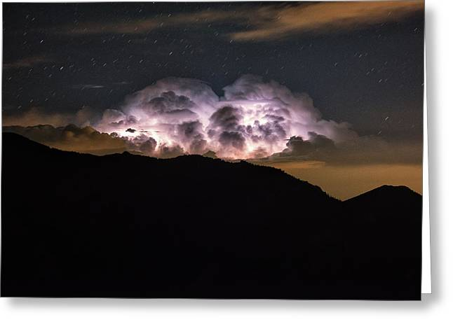 An Electrified Storm Cloud Looms Greeting Card by Keith Ladzinski