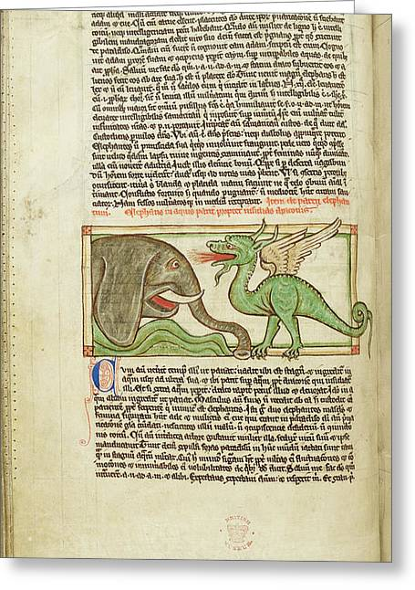 An Elephant And A Dragon Greeting Card by British Library