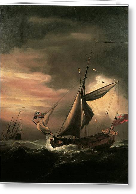 An English Royal Yacht And Others Shipping In Heavy Seas Greeting Card by Willem van de Velde the Younger