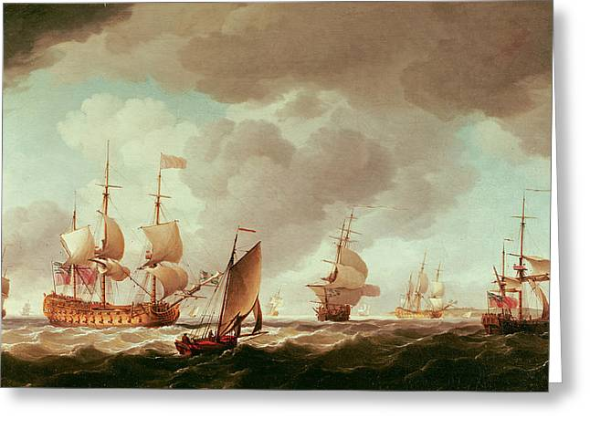 An English Vice-admiral Of The Red And His Squadron At Sea, C.1750-59 Oil On Canvas Greeting Card by Charles Brooking