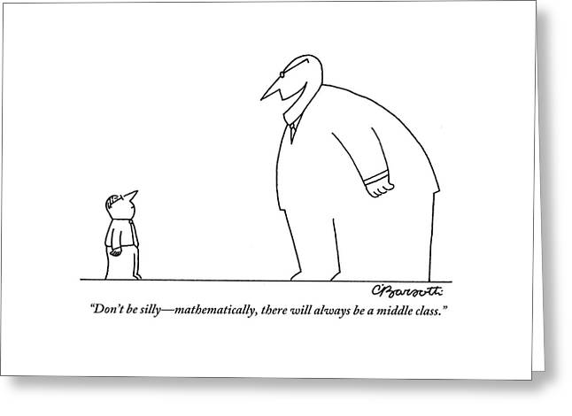 An Enormous Executive Speaks To A Small Office Greeting Card by Charles Barsotti