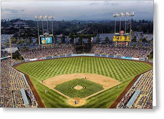 An Evening At Dodger Stadium Greeting Card by Mountain Dreams