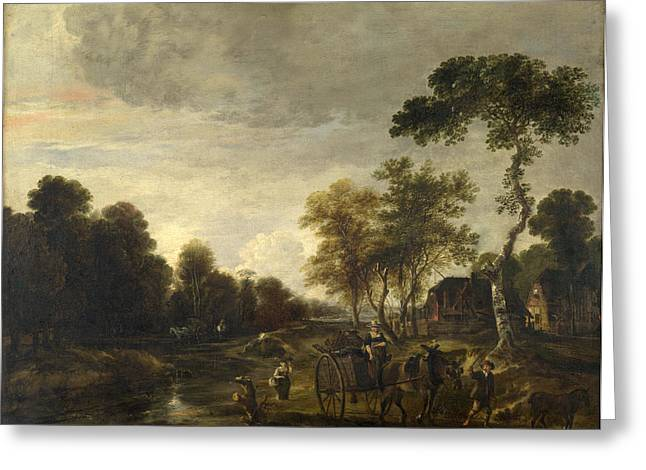An Evening Landscape With A Horse And Cart By A Stream Greeting Card by Aert van der Neer