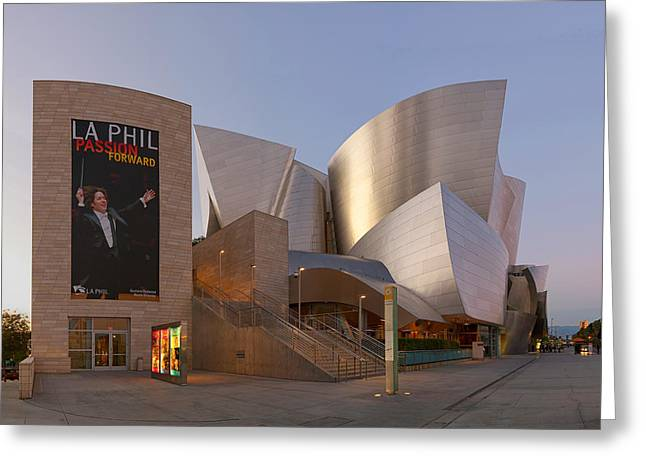 Greeting Card featuring the photograph An Evening With Gustavo - Walt Disney Concert Hall Architecture Los Angeles by Ram Vasudev