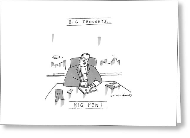 An Executive Sits At His Desk Writing Greeting Card by Michael Crawford