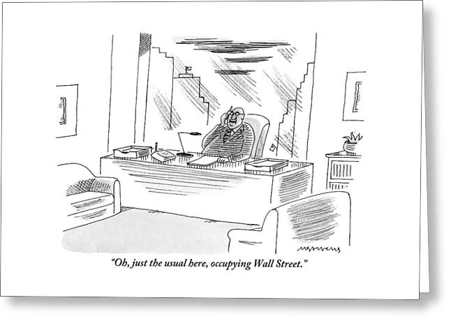 An Executive Sitting In His Office Speaks Greeting Card
