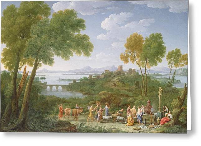 An Extensive Italianate Landscape With A Sacrifice, 1728 Oil On Canvas Greeting Card