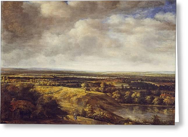An Extensive Landscape, 1666 Oil On Canvas Greeting Card by Phillips de Koninck