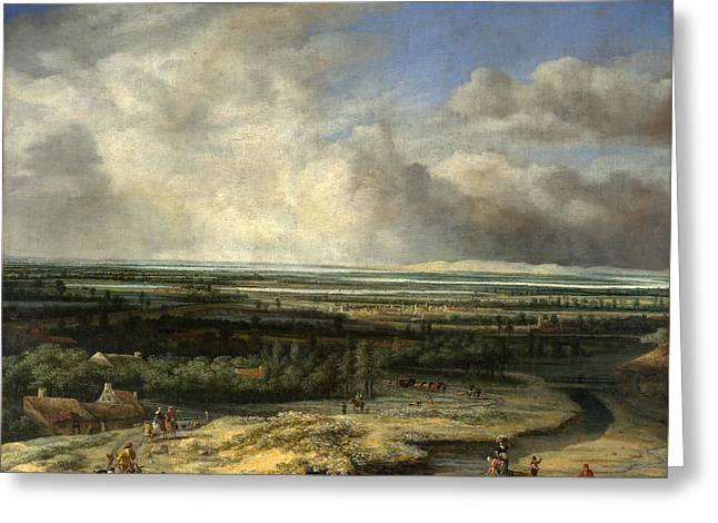 An Extensive Landscape With A Hawking Party Greeting Card
