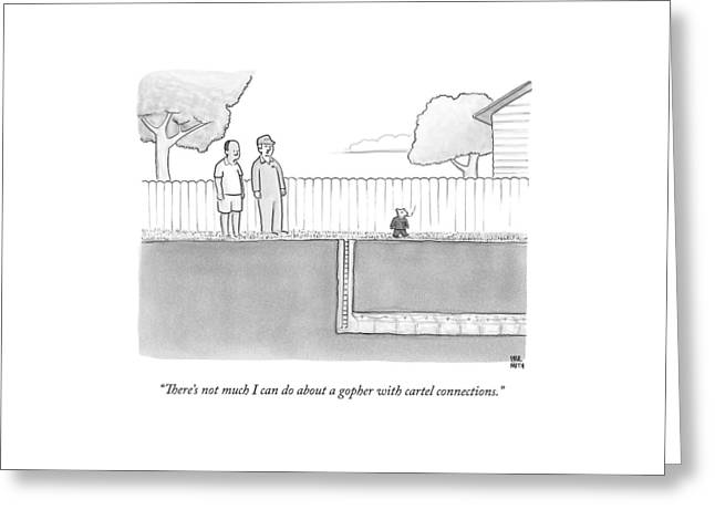 An Exterminator And Home-owner Look Greeting Card by Paul Noth