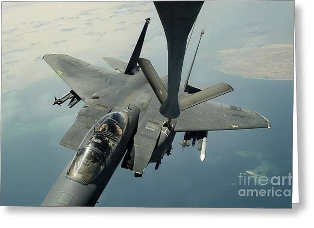 An F-15e Strike Eagle Receives Fuel Greeting Card by Stocktrek Images