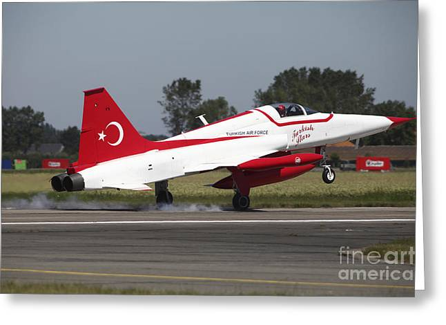 An F-5 Jet Of The Turkish Stars Greeting Card