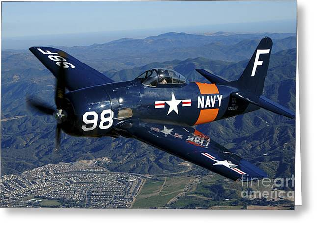 An F8f Bearcat Flying Over Chino Greeting Card by Phil Wallick