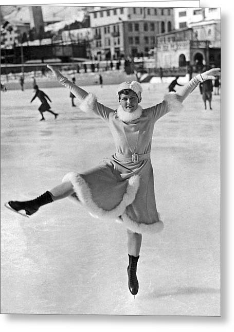 An Ice Dancer Shows Her Moves Greeting Card
