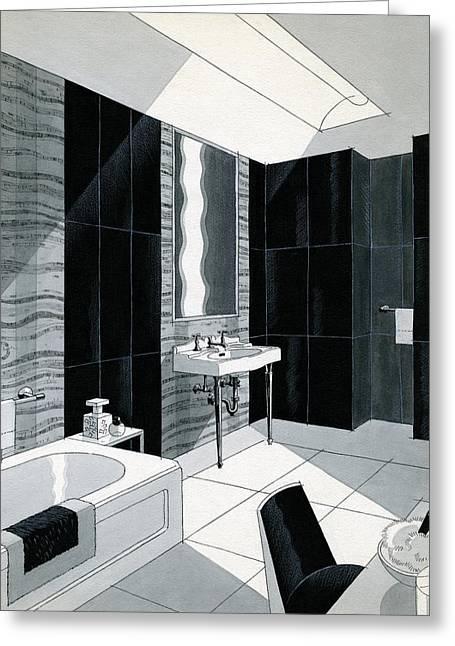 An Illustration Of A Bathroom Greeting Card by Urban Weis