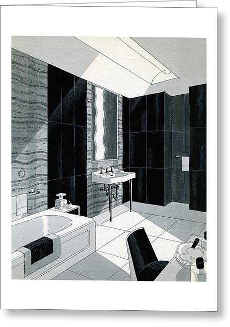 An Illustration Of A Bathroom Greeting Card